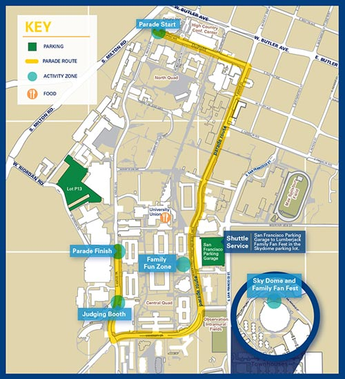 Northern Arizona University ~ Homecoming 2015 Route Map Small