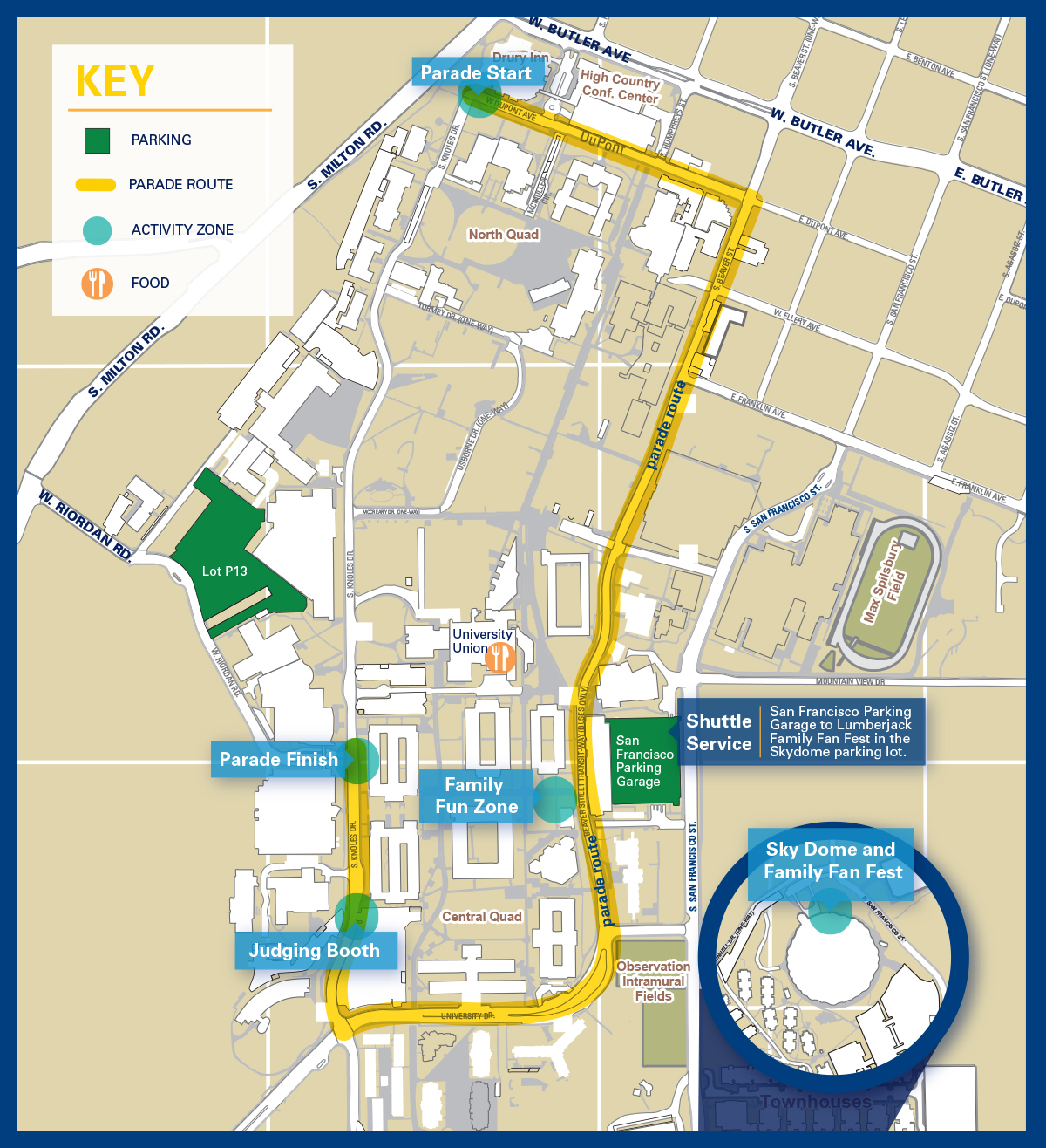 Nau Parking Map Homecoming to bring traffic and parking restrictions